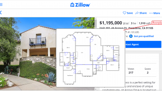 Zillow listing with a floor plan
